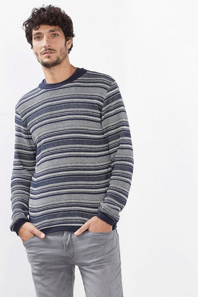 ESPRIT CASUAL Baumwoll-Sweatshirt mit Jacquard-Muster in NAVY