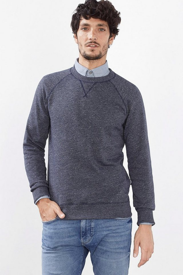 ESPRIT CASUAL Melange Sweatshirt aus Baumwoll-Mix in NAVY
