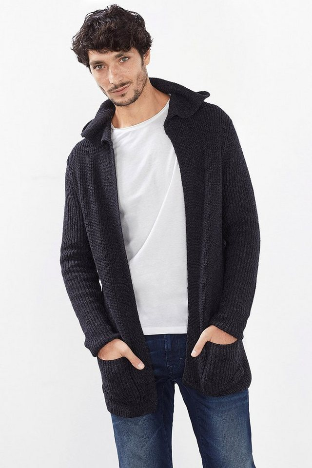 EDC Long Rippstrick-Cardigan mit Wolle in DARK GREY