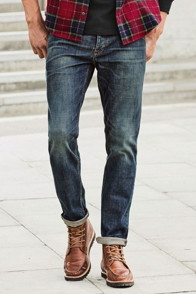 Next Vintage Wash Tapered-Fit Stretch-Jeans in Blue Tapered Fit