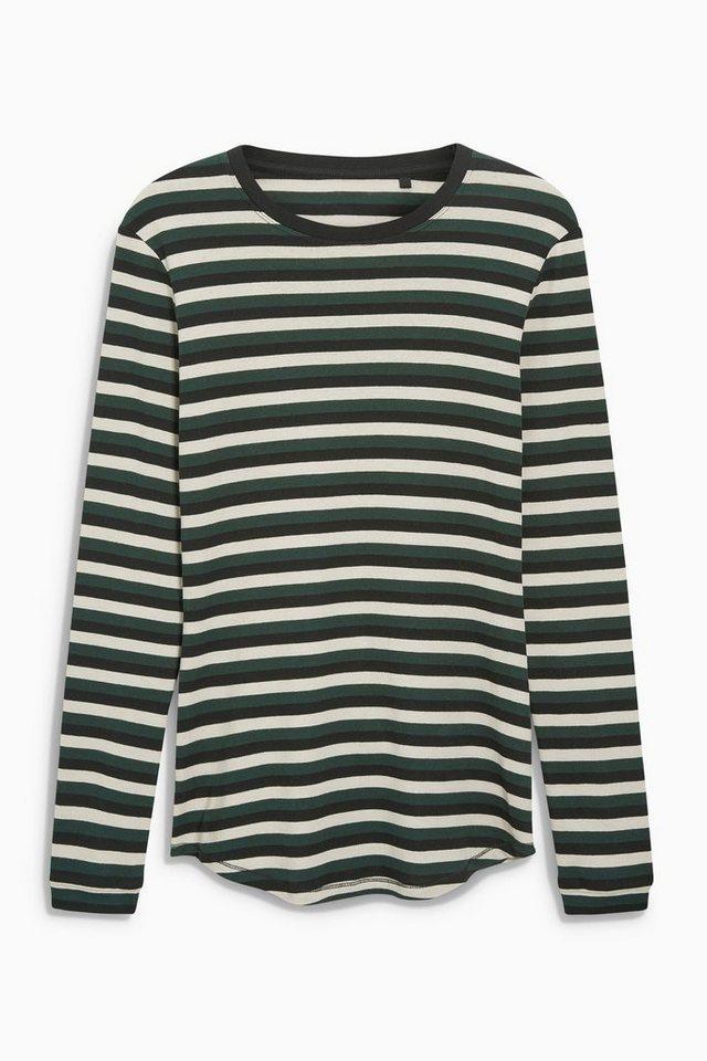 Next Gestreiftes Shirt in Green/Ecru