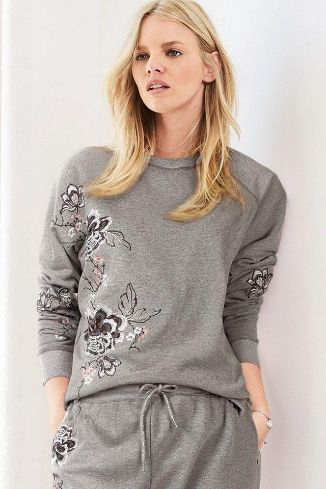 Next Sweatshirt mit aufgestickten Vogelmotiven in Grey
