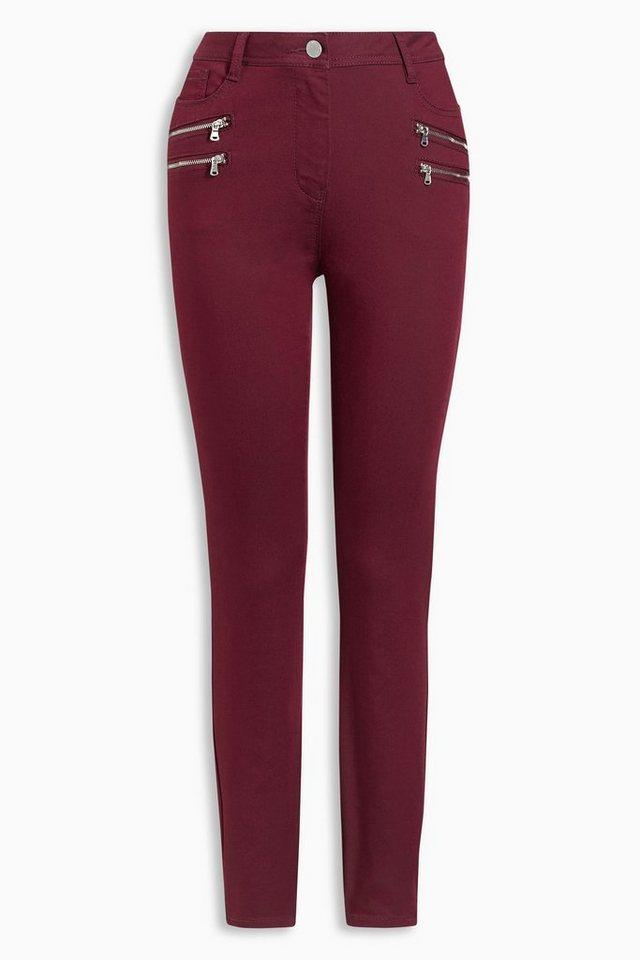 Next Beschichtete Skinny-Hose mit vier Reißverschlüssen in Berry