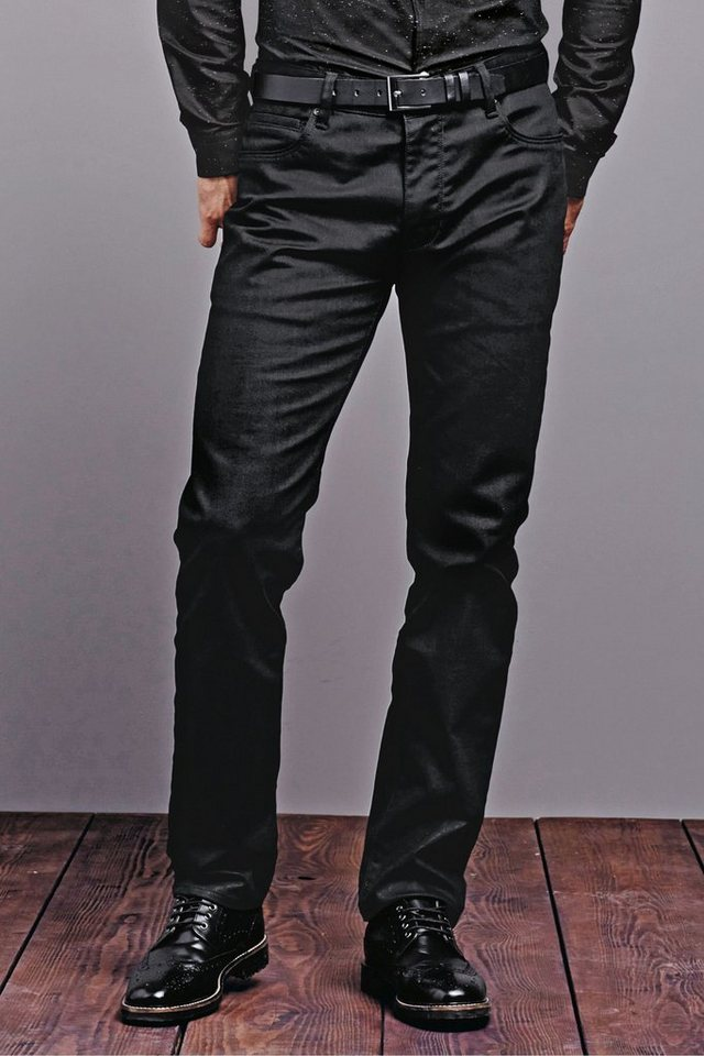 Next Straight-Fit Coated Denim Jeans in Black Straight Fit
