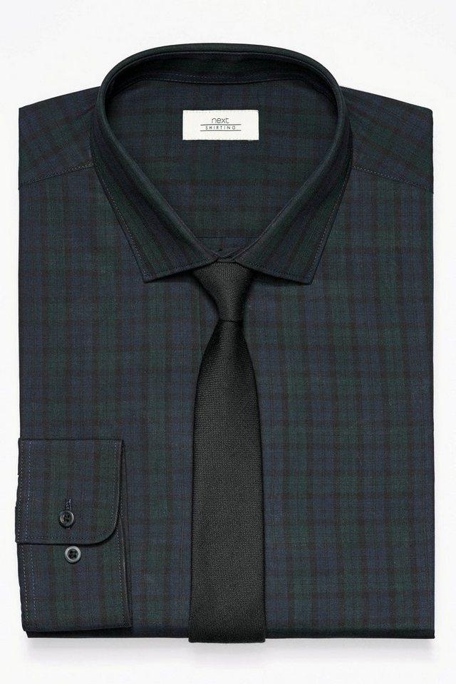 Next Kariertes Hemd und Krawatte im Set 2 teilig in Black