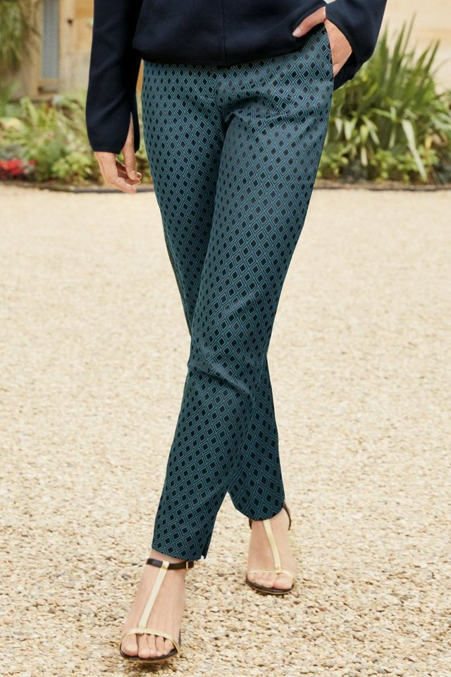 Next Jacquard-Hose in Teal Green
