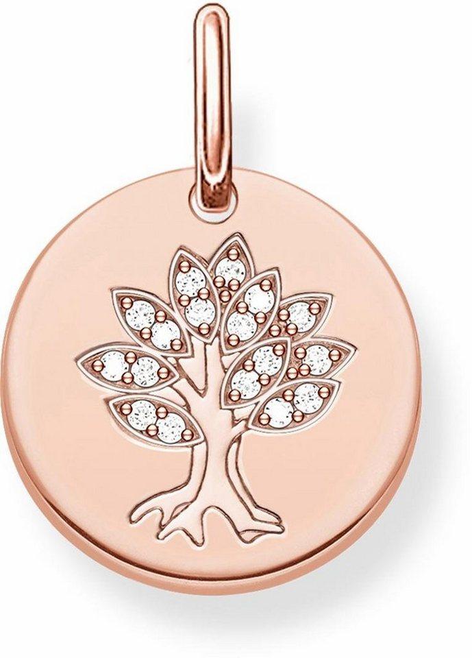 Thomas Sabo Kettenanhänger »Baum, LBPE0008-416-14« mit Zirkonia in Silber 925-silberfarben-roségoldfarben-weiß