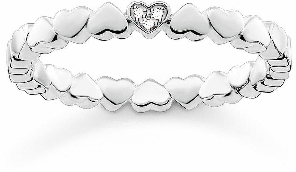 Thomas Sabo Fingerring »Herz, D_TR0013-725-14« mit Diamanten in Silber 925-silberfarben-weiß