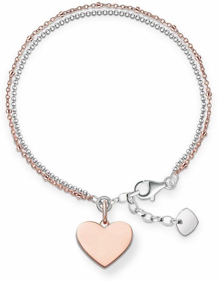 Thomas Sabo Armband »Herz, LBA0102-415-12-L19,5v« in Silber 925-silberfarben-roségoldfarben