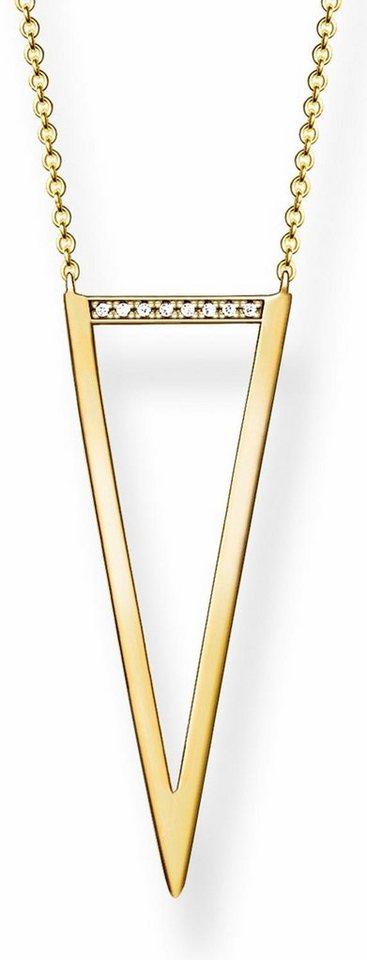 Thomas Sabo Kette mit Anhänger »D_KE0008-924-14-L80v« mit Diamanten in Silber 925-goldfarben-weiß