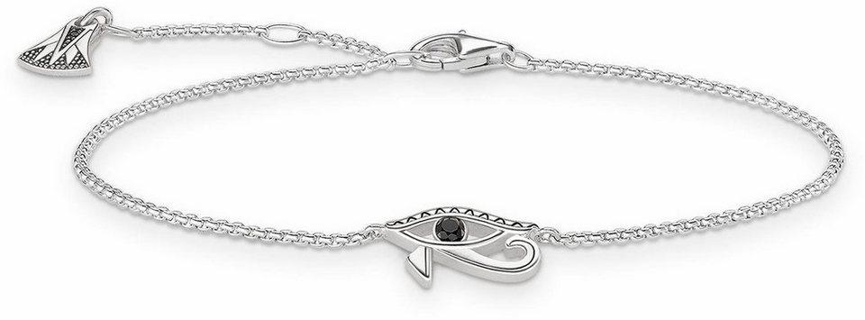 Thomas Sabo Armband »Horusauge, A1525-643-11-L19,5v« mit Zirkonia und synthetischem Spinell in Silber 925-silberfarben-schwarz