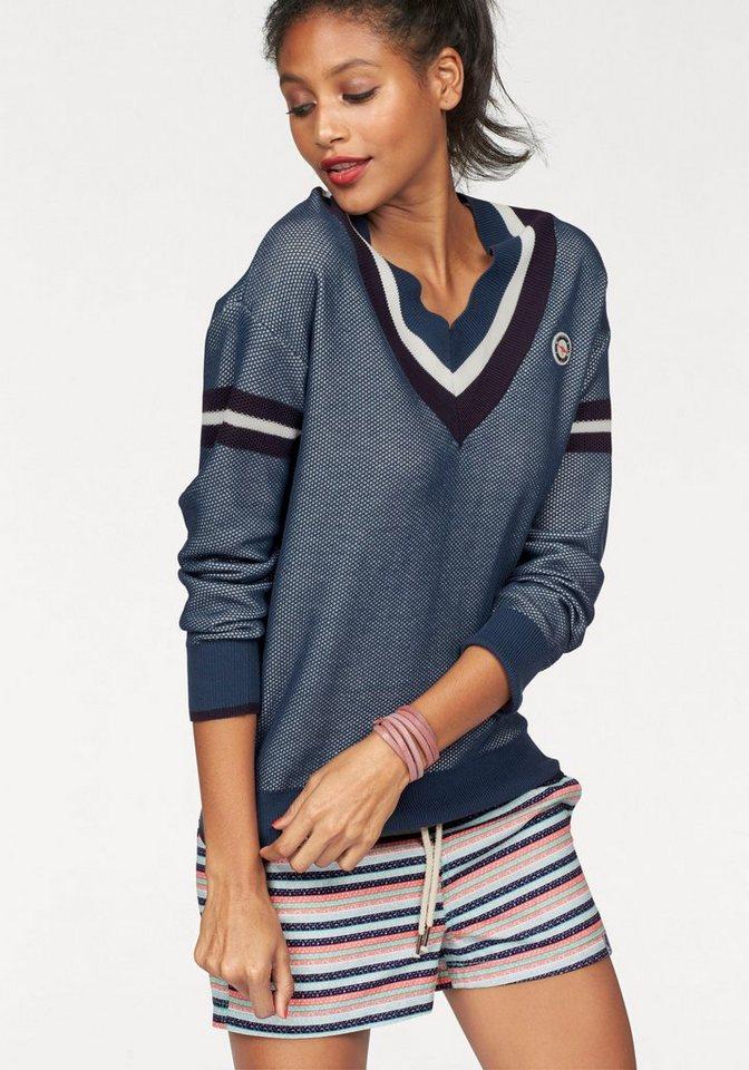 KangaROOS V-Ausschnitt-Pullover im sportlichem Lochstrick-Design in blau-weiß