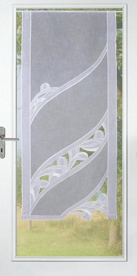 Gardine, Stickereien Plauen, »Christina« mit echter Plauener Spitze Stickerei (1 Stück) in weiß