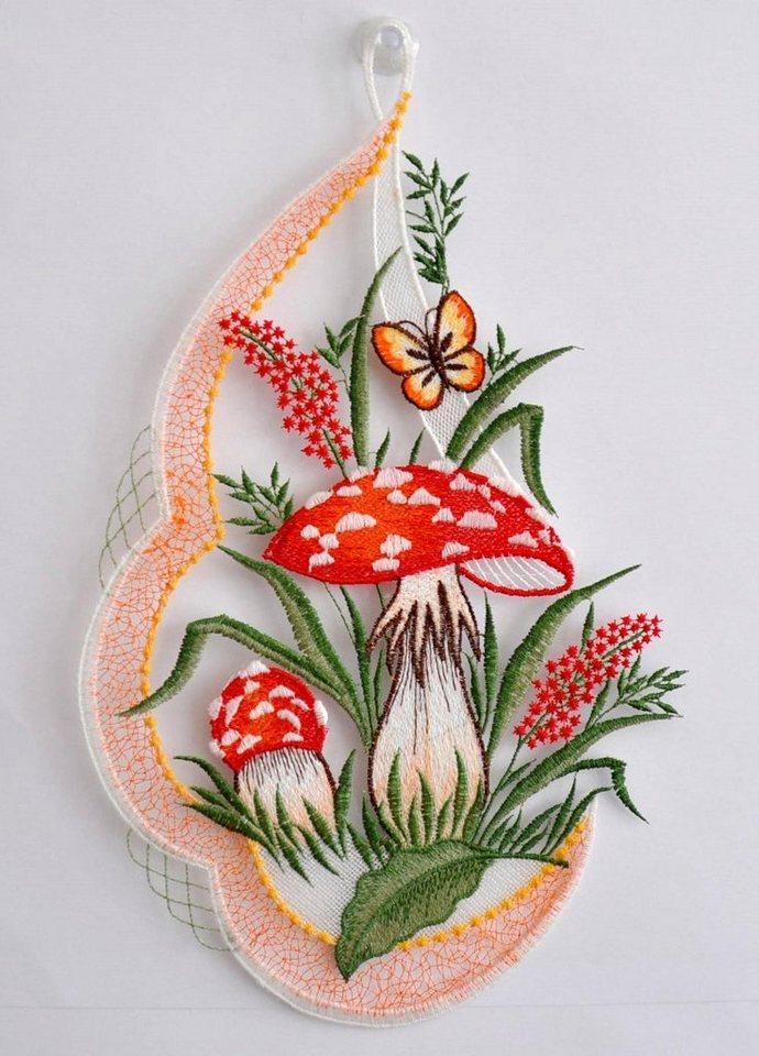 Fensterbild, Stickereien Plauen, » Pilze« mit echter Plauener Spitze Stickerei (1 Stück) in rot