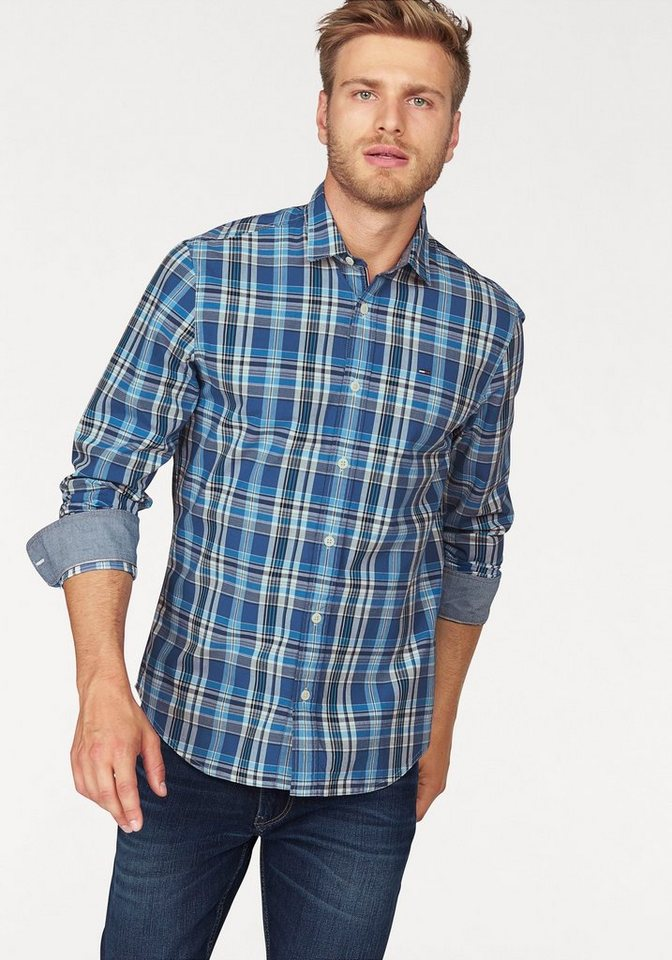 Hilfiger Denim Karohemd »THDM BASIC REG CHECK SHIRT L/S 21« in blau-kariert