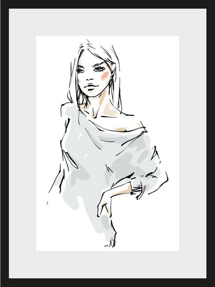 Home affaire, Rahmenbild, »Skizze Young Girl 2«, 30/40 cm in schwarz/weiß