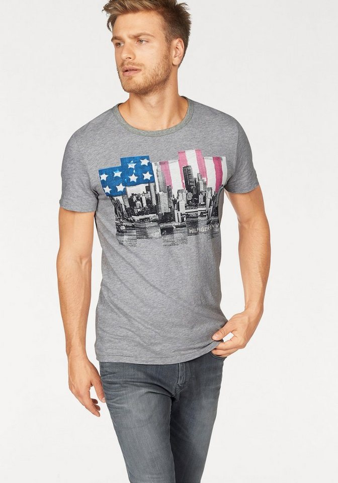 Hilfiger Denim T-Shirt »THDM CN T-SHIRT S/S 15« in hellgrau-meliert