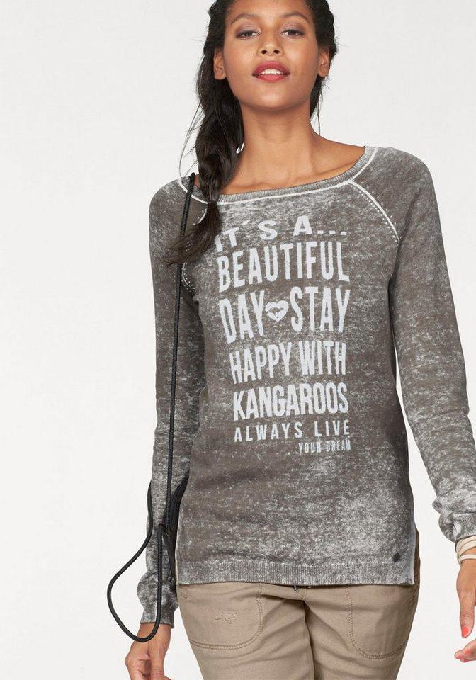 KangaROOS Rundhalspullover mit Statement-Print vorne in khaki