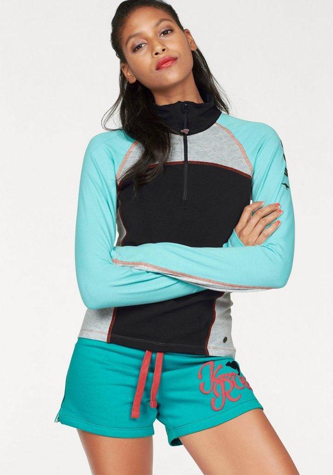 KangaROOS Langarmshirt im Colorblocking-Design in schwarz-türkis-grau