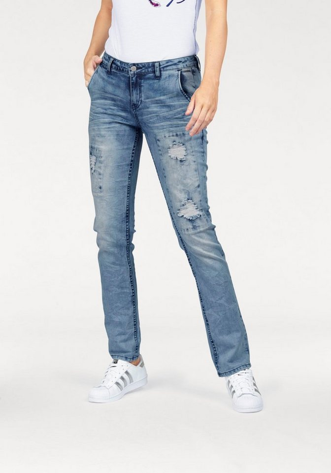 KangaROOS Destroyed-Jeans mit modischen Patches in light-blue