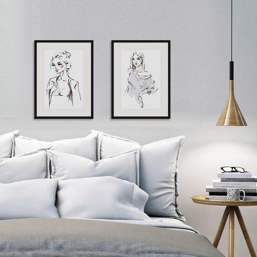 Home affaire Bild »Skizze Young Girl«, 2x 30/40 cm, gerahmt