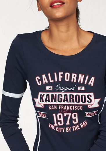 Kangaroos Langarmshirt, Sleeves With Print On Front And