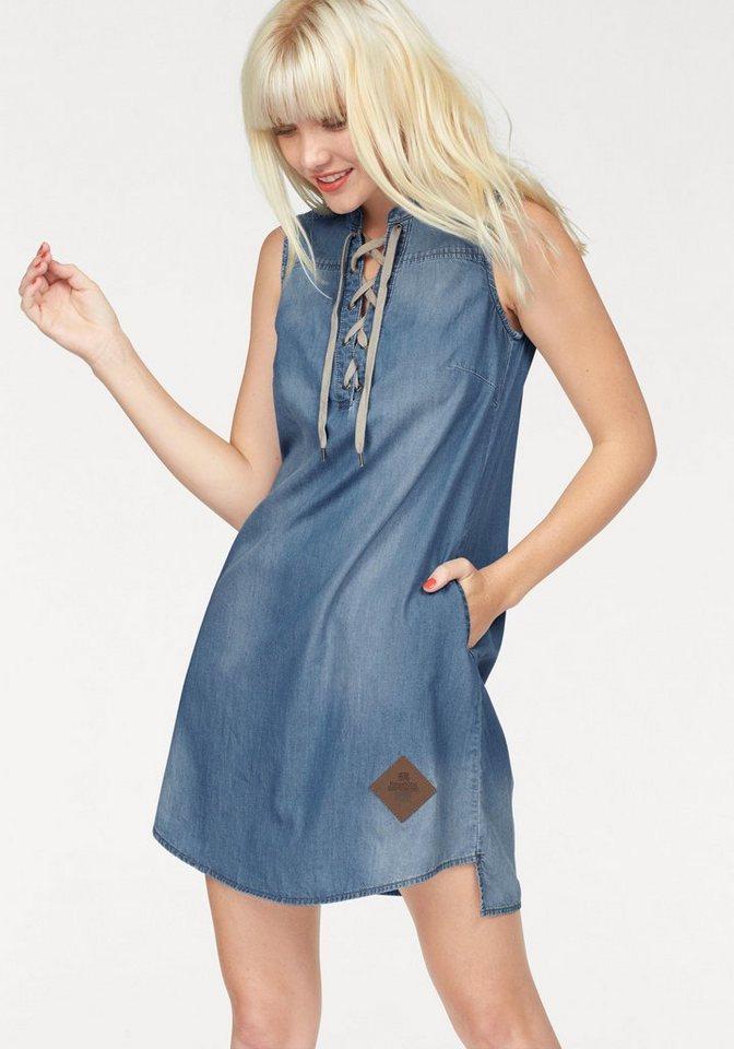 KangaROOS Jeanskleid mit trendiger Schnürung in denim-blau