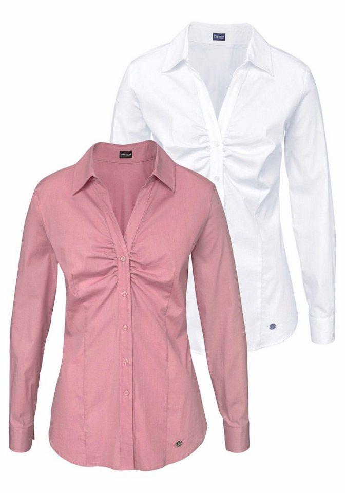 Bruno Banani Klassische Bluse (Packung, 2er-Pack) in rosa+weiß