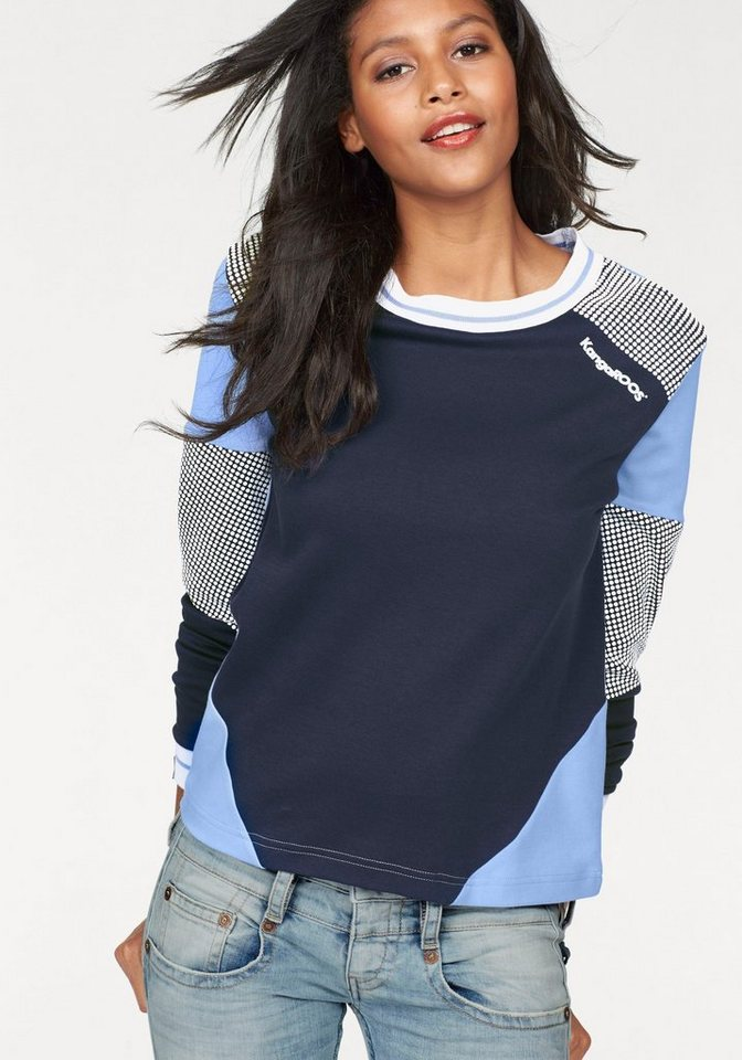 KangaROOS Sweatshirt im Colorblocking-Design in marine-hellblau
