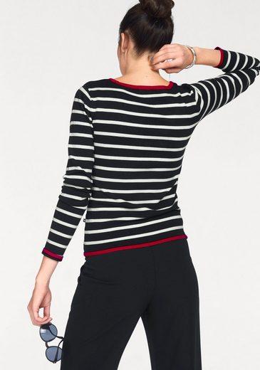 Bruno Banani V-Ausschnitt-Pullover, im Streifen-Design