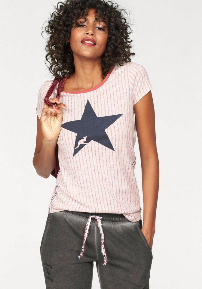 KangaROOS T-Shirt im Allover-Print-Design in offwhite-weiß-gestreift