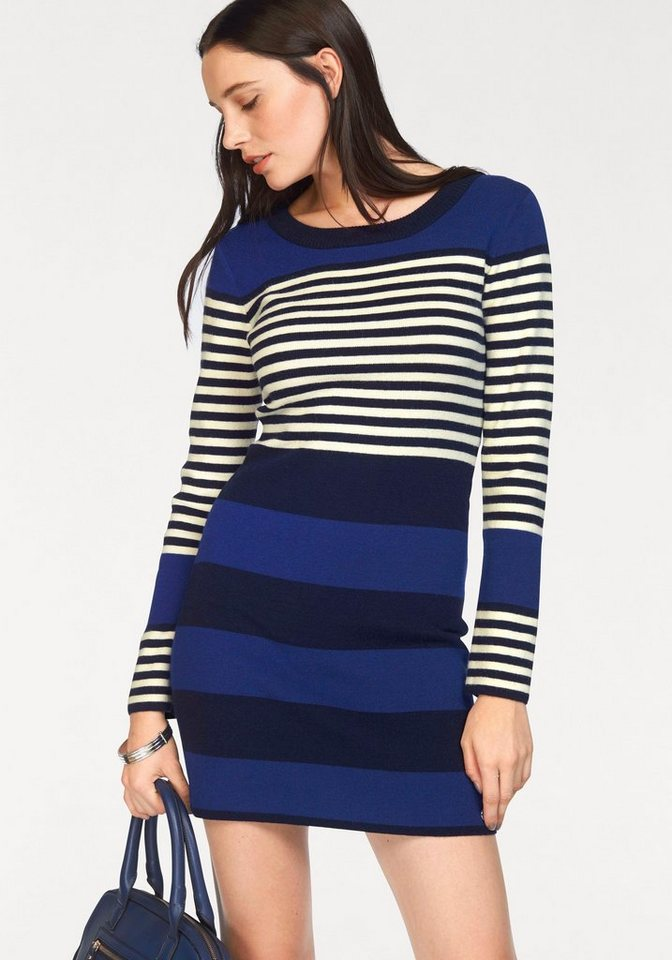 Bruno Banani Strickkleid Colorblocking in royalblau-navy-wollweiß