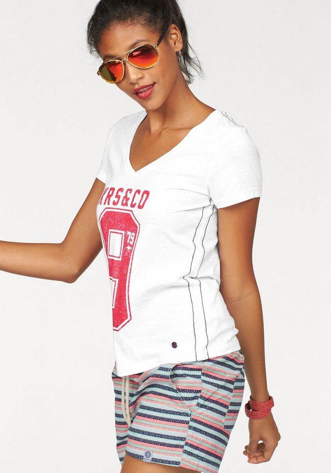 KangaROOS T-Shirt mit tiefem V-Ausschnitt in weiß