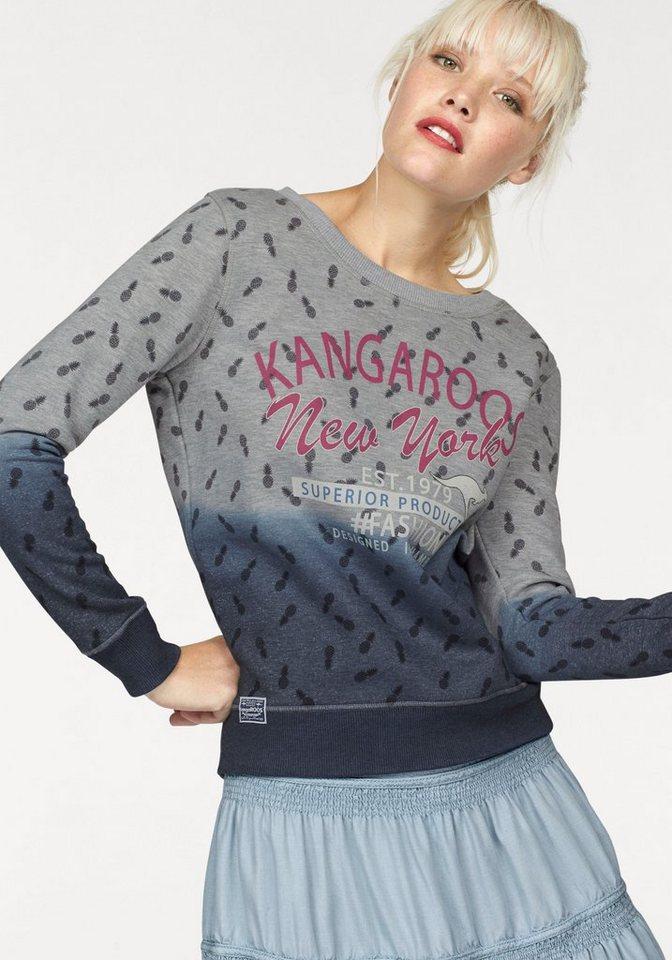 KangaROOS Sweatshirt mit Farbverlauf und Allover-Print in grau-meliert-navy
