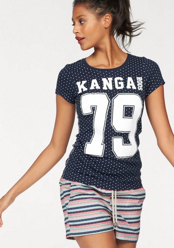 KangaROOS T-Shirt im Allover-Design mit Frontprint in marine-weiß