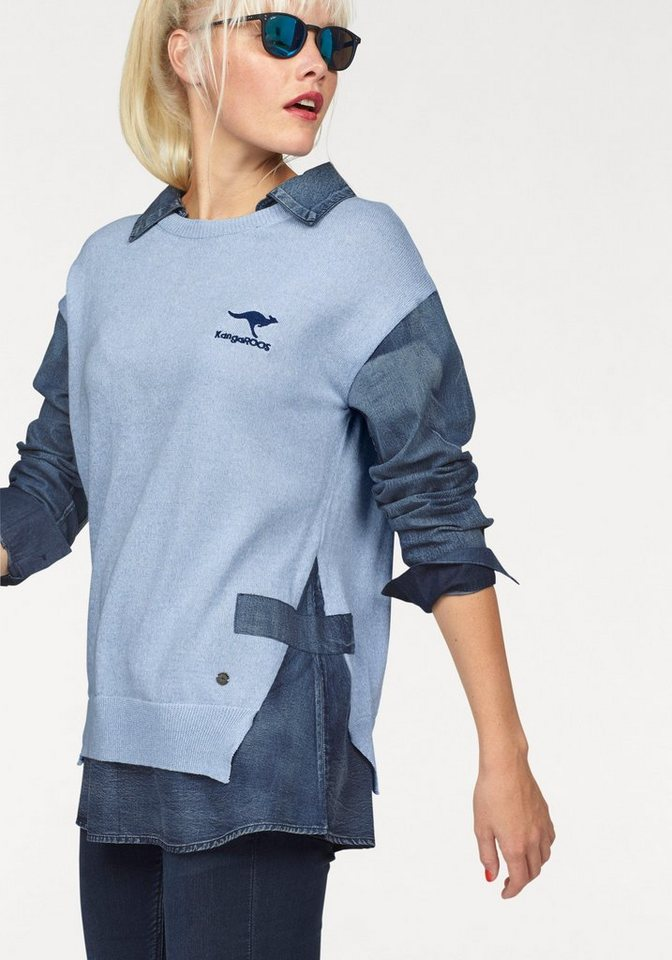 KangaROOS 2-in-1-Pullover , Strick und Web im Mix in hellblau-denim