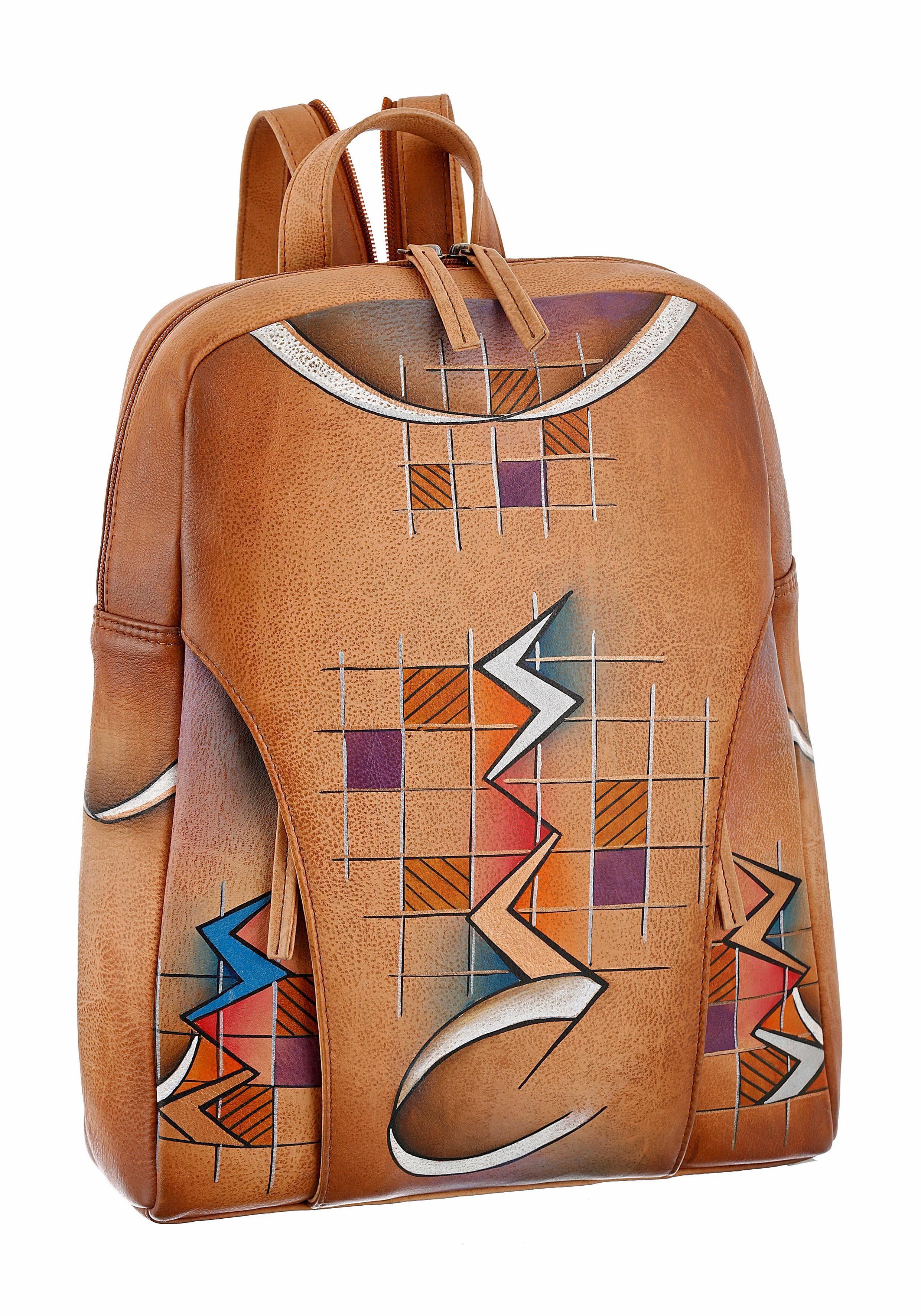 Art & Craft Cityrucksack, by Greenland Nature aus handbemaltem Leder