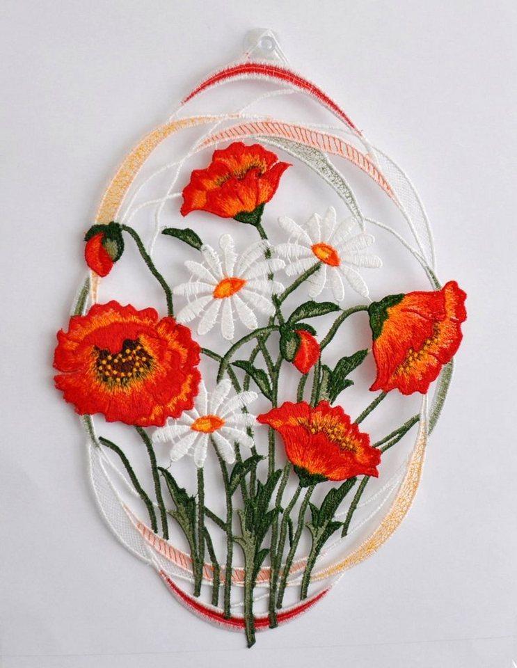 Fensterbild , Stickereien Plauen, »Mohnblumen« mit echter Plauener Spitze Stickerei (1 Stück) in rot