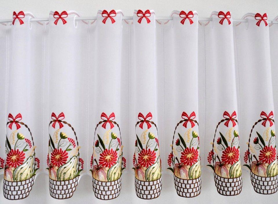 Scheibengardine, Stickereien Plauen, »Obstkorb«, mit Stangendurchzug, mit echter Plauener Spitze Stickerei (1 Stück) in bunt