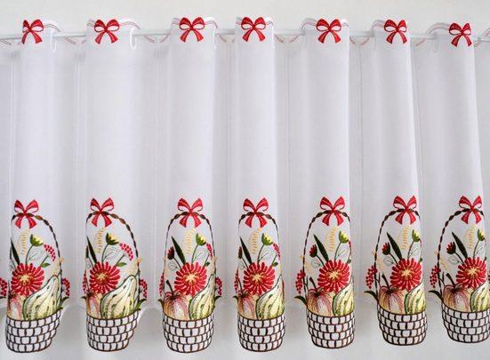 Scheibengardine »Obstkorb«, Stickereien Plauen, Stangendurchzug (1 Stück), mit echter Plauener Spitze Stickerei