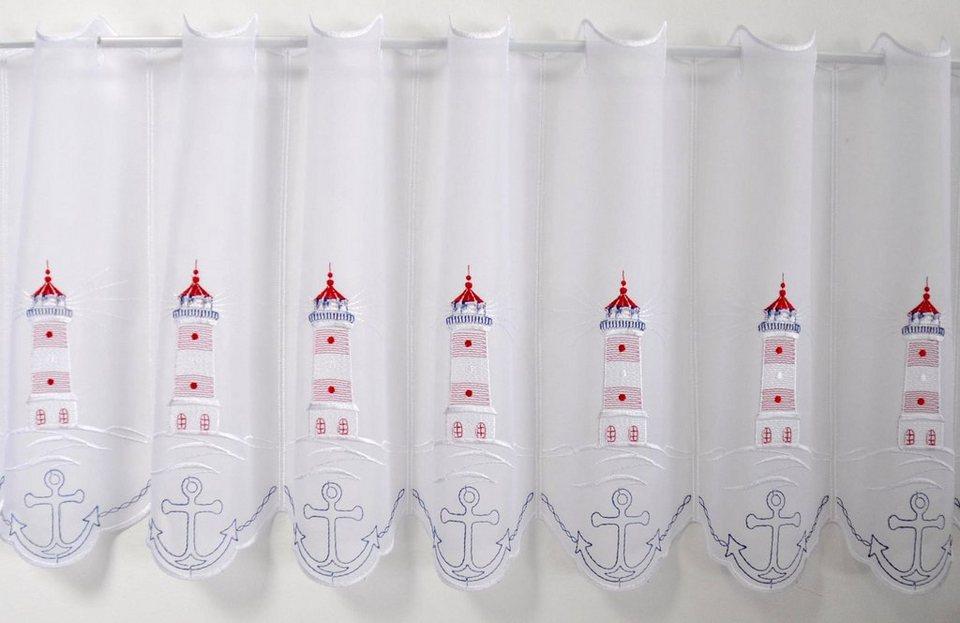 Scheibengardine, Stickereien Plauen, »Leuchtturm«, mit Stangendurchzug, mit echter Plauener Spitze Stickerei (1 Stück) in bunt