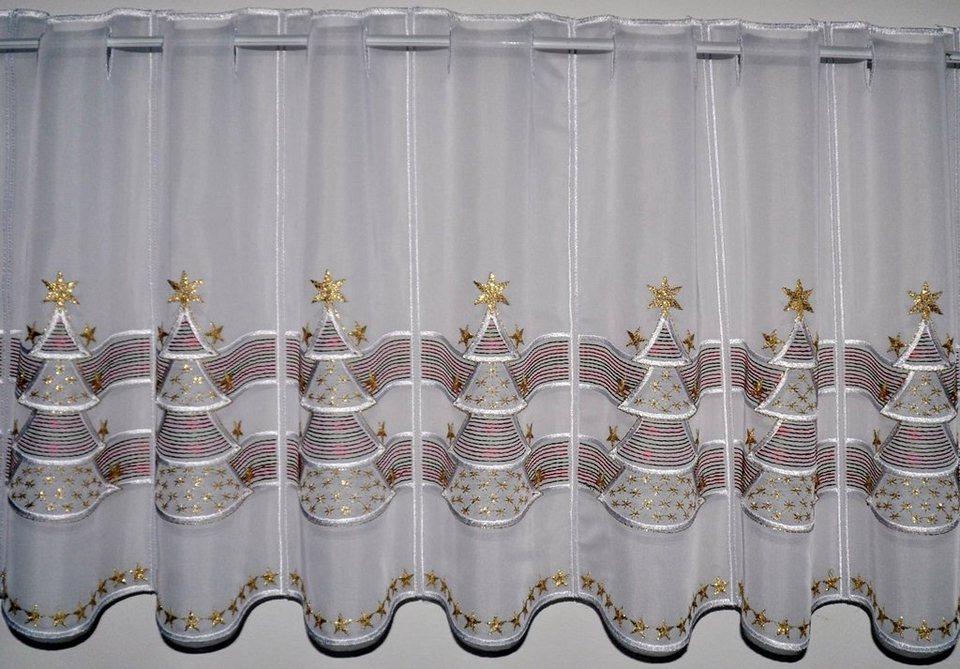 Scheibengardine, Stickereien Plauen, »Goldtanne« mit echter Plauener Spitze Stickerei (1 Stück) in bunt