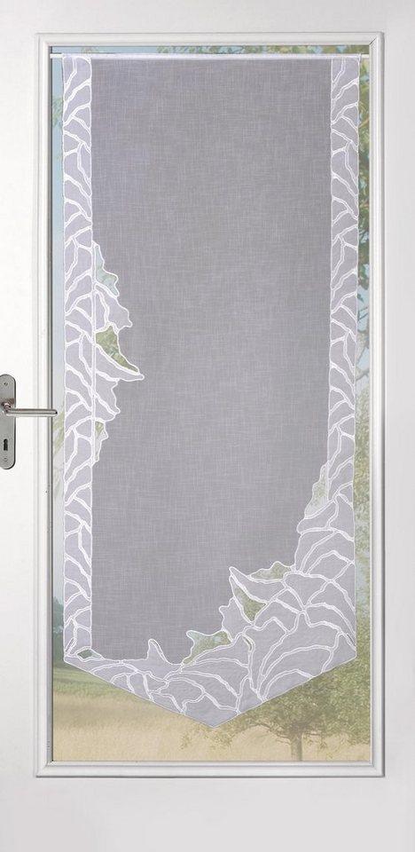 Gardine, Stickereien Plauen, »Isabell« mit echter Plauener Spitze Stickerei (1 Stück) in weiß