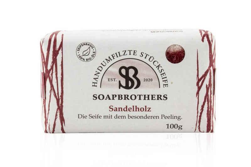 Soapbrothers Gesichtsseife »Naturkosmetik Bio Seife mit Filzmantel - Bis zu 4-mal ergiebiger als herkömmliche Stückseifen in nachhaltiger Verpackung - Sandelholz 100g«, 1-tlg., Filzseife