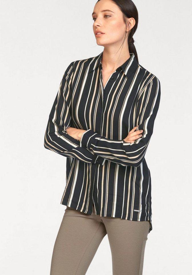 Bruno Banani Hemdbluse im Streifenlook in schwarz