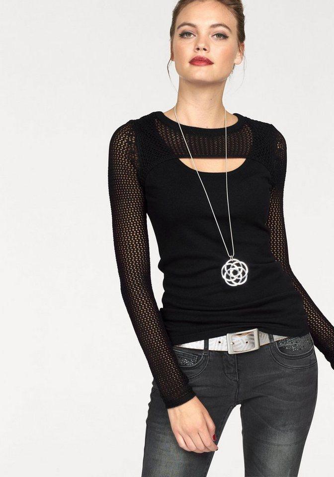 Melrose Rundhalspullover mit Netzstrick in schwarz