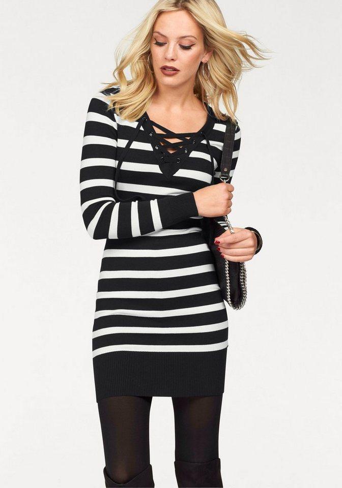 Melrose Strickkleid mit Schnürung in schwarz-weiß