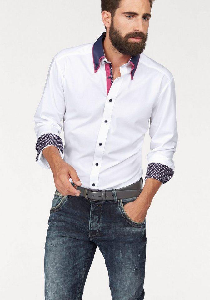 Bruno Banani Businesshemd in weiß-kontrastfarbene Details
