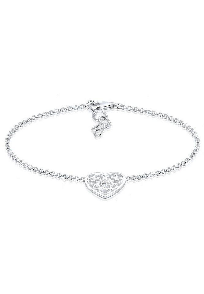 Elli Armband »Herz, 0203291516« mit Swarovski® Kristall in Silber 925