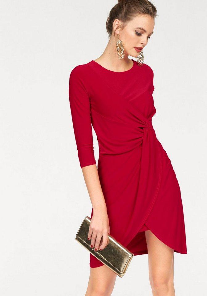 Melrose Jerseykleid in Wickeloptik mit Knoten in rot
